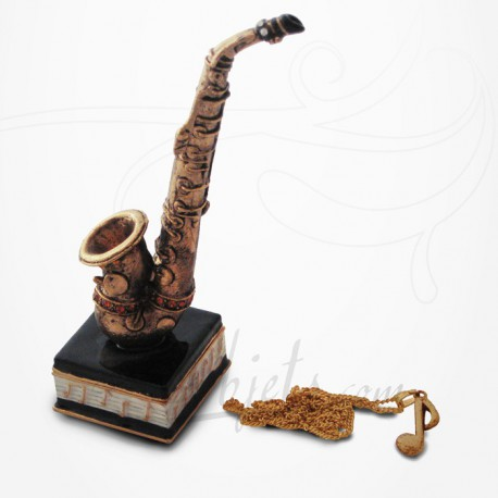 Boîte à secrets Saxophone & Pendentif - Métal émaillé