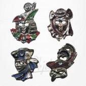 Masque de Venise - 4 Magnets Etain Argenté/Doré
