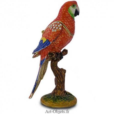 Boîte à secrets Oiseau Perroquet Ara rouge - Métal émaillé avec Strass
