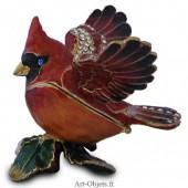 Boîte à secrets Oiseau Cardinal Rouge - Métal émaillé avec Strass