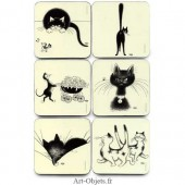 Six Dessous de verre - Collection Chats Dubout