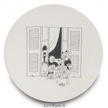 Assiette Dessert - Chats par la fenêtre - Collection Chats Dubout