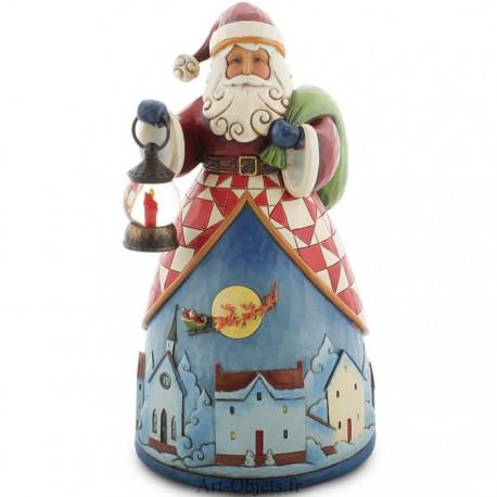Noël - Père Noël décoré d'une scène d'un village de nuit
