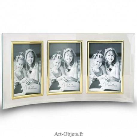 cadre photo verre triple 10x15 vertical art objets. Black Bedroom Furniture Sets. Home Design Ideas