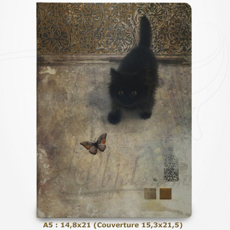 Cahier - BUG ART - Chat regardant un papillon 14,8x21,5