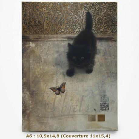 Carnet - BUG ART - Chat regardant un papillon 10,5x14,8