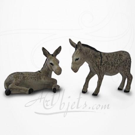 Figurine Miniature - 2 Ânes - Porcelaine