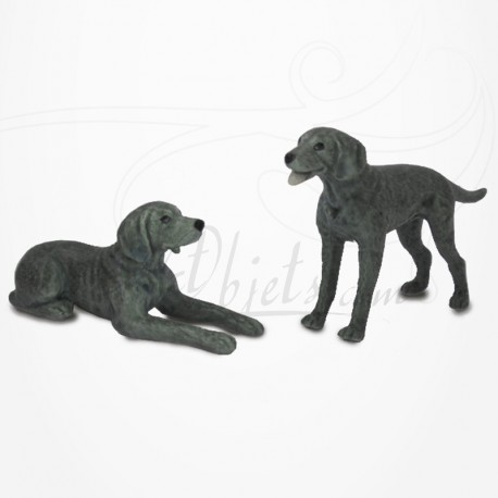 Figurine Miniature - 2 Chiens - Race Braque - Porcelaine