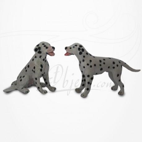 Figurine Miniature - 2 Chiens - Race Dalmatien - Porcelaine
