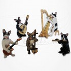 Figurine Miniature - 5 Chiens musiciens - Porcelaine