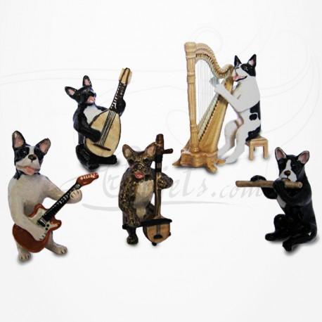 Figurine Miniature - 5 Chiens musiciens - Porcelaine