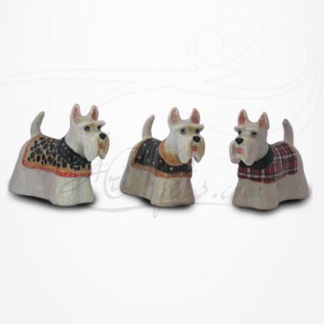 Figurine Miniature - 3 Chiens - Race Scottish Terrier - Porcelaine