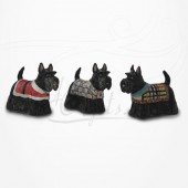 Figurine Miniature - 3 Chiens - Race Scottish Terrier - Porcelaine