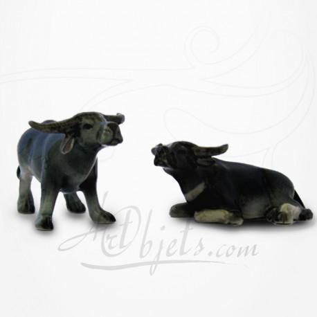 Figurine Miniature - 2 Buffles - Porcelaine