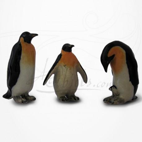Figurine Miniature - 3 Manchots - Porcelaine