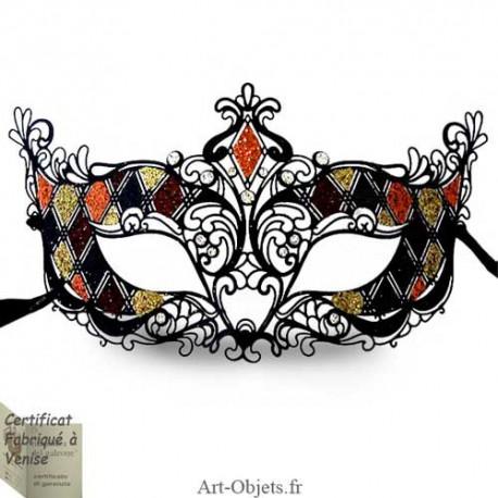 Masque Loup de Venise - Civette Dentelle Métallique - Strass - Orange
