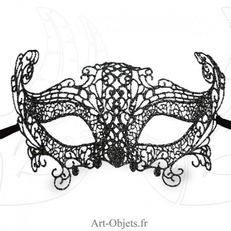 Masque de Venise - Masque loup dentelle de Burano noire