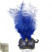 Masque de Venise - Civette Toupet Plumes d'Autruche - Masque loup