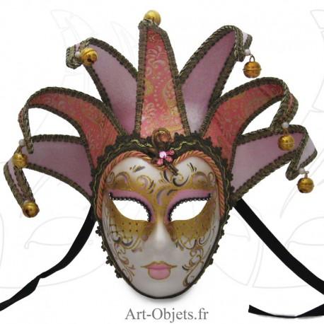 Masque de Venise - Visage Joker Anna - 7 Pointes Roses