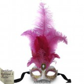 Masque de Venise - Civette Iris Toupet Fuchsia - Masque loup