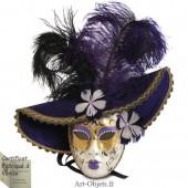 Masque de Venise - Visage Joker Chapeau et Plumes