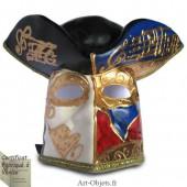 Masque de Venise - Visage homme Casanova décoré Bleu et Rouge