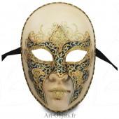 Masque de Venise - Visage décoré Bleu et doré.