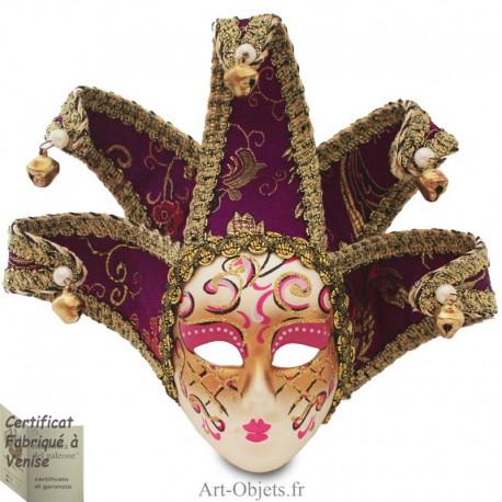 Masque de Venise décoré en Céramique, Jocker à pointes, Violet et Doré