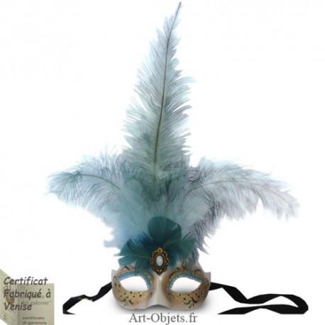 Masque de Venise - Civette Iris Toupet Bleu - Masque loup