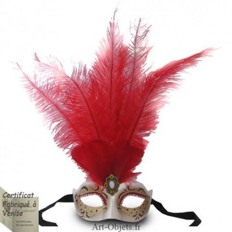 Masque de Venise - Civette Iris Toupet Rouge - Masque Loup