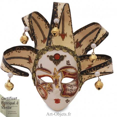 Masque de Venise décoré en Céramique, Jocker à pointes - Décor Musique