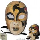 Masque de Venise - Visage décoré doré et noir, symphonie