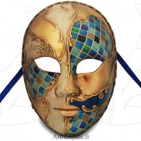 Masque de Venise - Visage décoré bleu et mosaïque