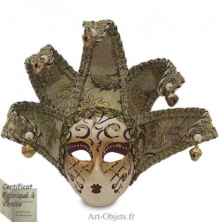 Masque de Venise décoré en Céramique, Jolly à pointes dorées et Tissus Argenté