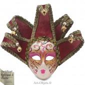 Masque de Venise décoré en Céramique, Jolly à pointes dorées et Tissus Vieux Rose