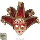 Masque de Venise décoré en Céramique, Jolly à pointes dorées et Tissus Rouge
