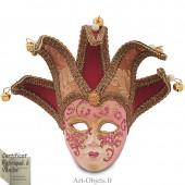 Masque de Venise décoré en Céramique, Jocker à pointes, Bordeaux et Doré