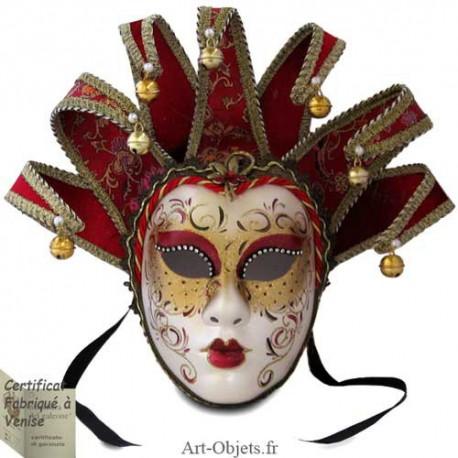 Masque de Venise - Visage Joker - Anna - 7 Pointes Bordeaux