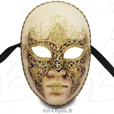 Masque de Venise - Visage décoré Violet et doré.
