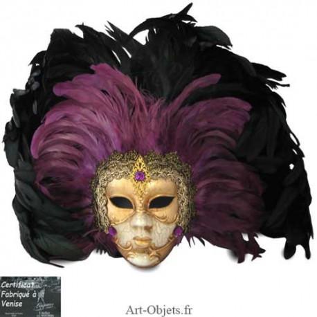 Masque de Venise décoré, Masque à plumes