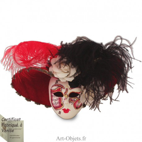 Masque de Venise décoré en Céramique, Chapeau velours à plumes