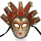 Masque de Venise - Visage Joker - Anna - 7 Pointes Oranges