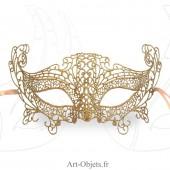 Masque de Venise - Masque loup dentelle de Burano dorée