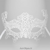 Masque de Venise - Masque loup Dentelle de Burano Blanche