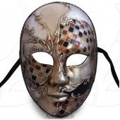 Masque de Venise - Visage décoré argenté et mosaïque