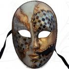 Masque de Venise - Visage décoré Doré Brun et mosaïque