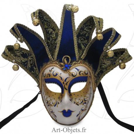 Masque de Venise - Visage Joker Anna - 7 Pointes Bleues