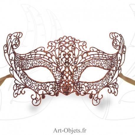 Masque de Venise - Masque loup dentelle de Burano dorée marron