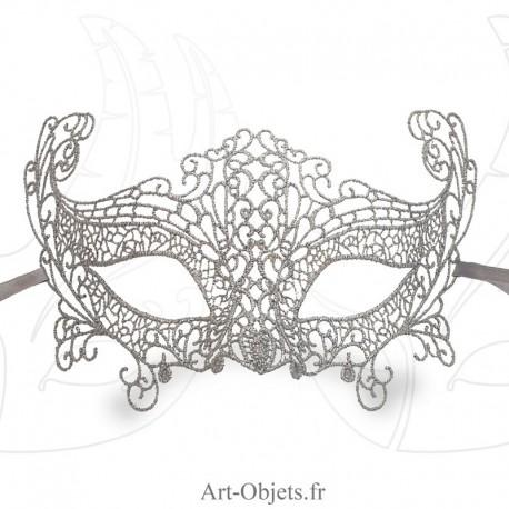Masque de Venise - Masque loup dentelle de Burano Argentée