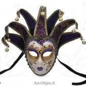 Masque de Venise - Visage Joker Anna - 7 Pointes Violettes